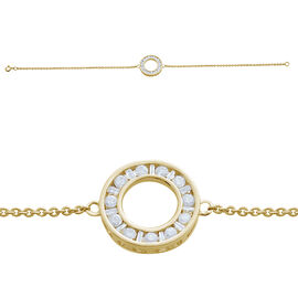 9K Yellow Gold  SGL Certified Diamond (13/G-H ) (Rnd & Bgt) Bracelet (Size 7.25)  0.500  Ct.
