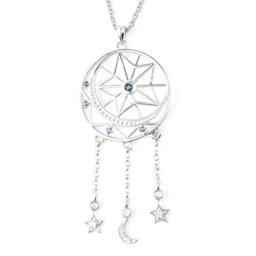 LucyQ Amethyst (Rnd), London Blue Topaz and Natural Cambodian Zircon Dream Catcher Pendant with Chai
