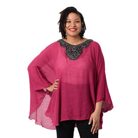 OTO - Swing Top with Embroidery Kaftan (Size 130x75cm)- Rose