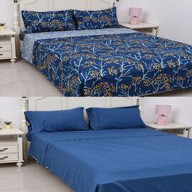 8 Piece Set - 2xFitted Sheet, 2xFlat Sheet and 4xPillow Case (King Size) - Blue