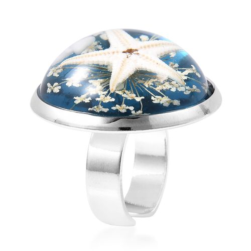 Pressed Starfish and Flower Adjustable Ring in Silver Tone