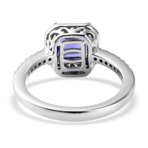 RHAPSODY 950 Platinum AAAA Tanzanite (Asscher Cut) and Diamond (VS/E-F) Ring 2.100 Ct.