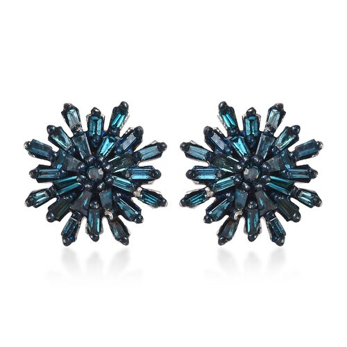 Blue Diamond (Bgt) Snow Flake Earrings (with Push Back) in Platinum and Blue Overlay Sterling Silver