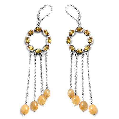 Chanthaburi Yellow Sapphire (Ovl) Earrings (with Lever Back) in Platinum Overlay Sterling Silver 12.000 Ct, Silver wt 10.29 Gms
