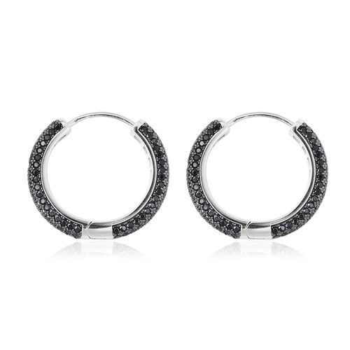Natural Boi Ploi Black Spinel (Rnd) Cluster Hoop Earrings (with Clasp) in Black and Rhodium Overlay Sterling Silver 2.88 Ct, Silver wt 6.95 Gms, Number of Gemstone 288