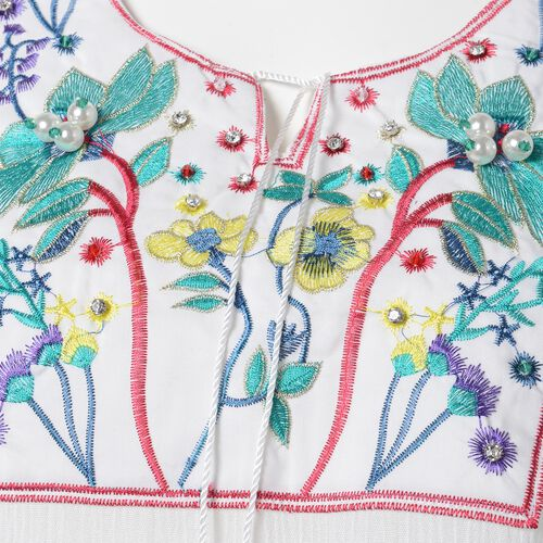 New Season-White, Red, Blue and Multi Colour Ethnic Style Embroidered Lotus Pattern Summer Poncho (Size 80x55 Cm) with White, Green and Multi Colour Beads