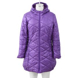 Purple Colour Women Long Puffer Jacket with Two Zipper Pockets