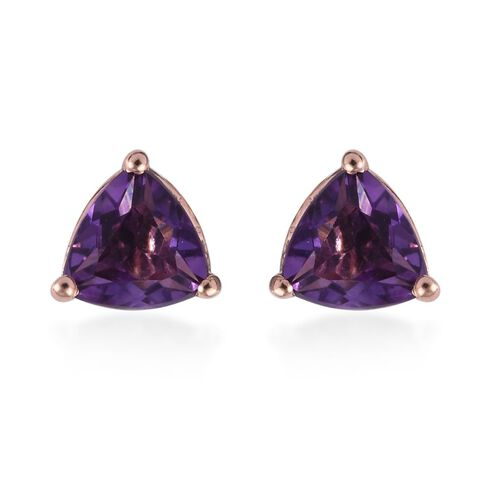1.25 Ct Amethyst Solitaire Stud Earrings in Rose Gold Plated Sterling Silver