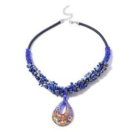 Lapis Lazuli (314.00 Ct), Blue Murano Style Glass, Simulated Blue Sapphire, Simulated Mystic Topaz N