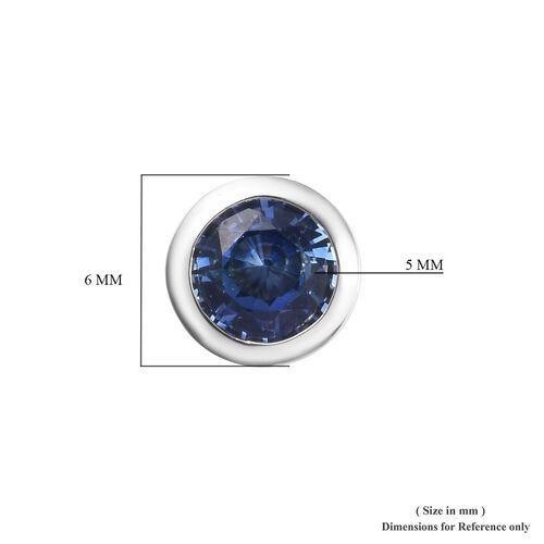 RHAPSODY 950 Platinum AAAA Royal Ceylon Sapphire Stud Earrings (with Screw Back) 1.20 Ct.