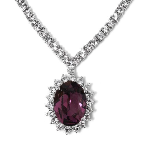 J Francis Crystal from Swarovski- Purple Sapphire Crystal (Ovl), White Crystal Necklace (Size 18 wit