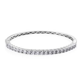 Super Auction - J Francis Platinum Overlay Sterling Silver (Rnd) Bangle (Size 7.5) Made with SWAROVS