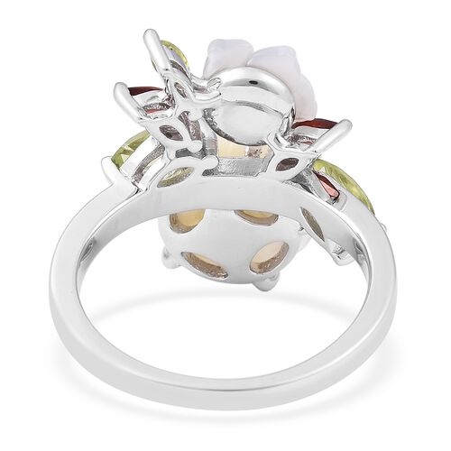 Jardin Collection - White Mother of Pearl, Hebei Peridot and Mozambique Garnet Ring in Rhodium Overlay Sterling Silver