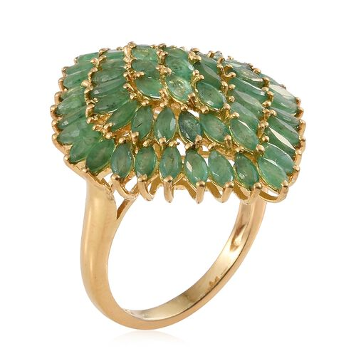 4 5 Ct Zambian Emerald Cluster Ring In Gold Plated