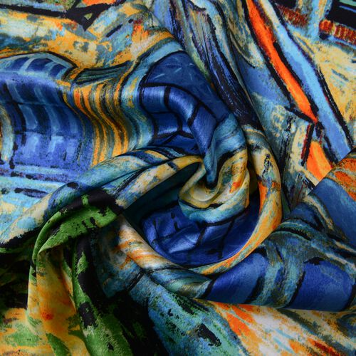 100% Mulberry Silk Yellow, Blue and Multi Colour The Church at Auvers Printed Scarf (Size 86x86 Cm) (Weight 35 Gms)