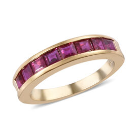 ILIANA 18K Yellow Gold AAAA Burmese Ruby (Princess Cut) Half Eternity Band Ring 1.330  Ct.