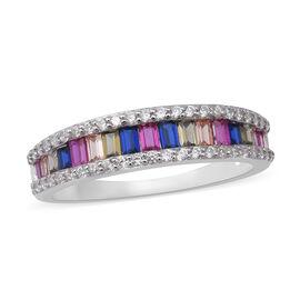 ELANZA Simulated Rainbow Sapphire Half Eternity Ring in Rhodium Overlay Sterling Silver