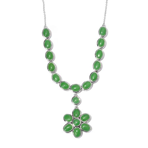 Green Jade (Ovl) Floral Necklace (Size 18) in Platinum Overlay Sterling Silver 29.500 Ct.