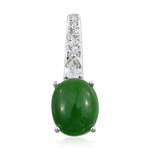 Green Jade (Ovl 3.30 Ct), White Topaz Pendant in Sterling Silver 3.500  Ct.