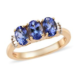 ILIANA 1.50 Ct AAA Tanzanite and Diamond Trilogy Ring in 18K Gold 3.60 Grams SI GH