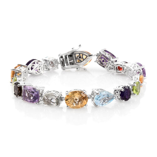 Cocktail Collection Multi Gemstone Bracelet (Size 7.5) in Platinum Overlay Sterling Silver 26.000 Ct.