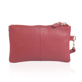 100% Genuine Leather Dark Red Wristlet (Size 19x12 Cm)
