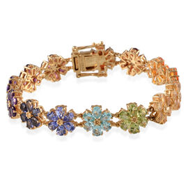 10.72 Ct Tanzanite and Multi Gemstone Floral Bracelet in Gold Plated Silver 11 Grams 6.5 Inch