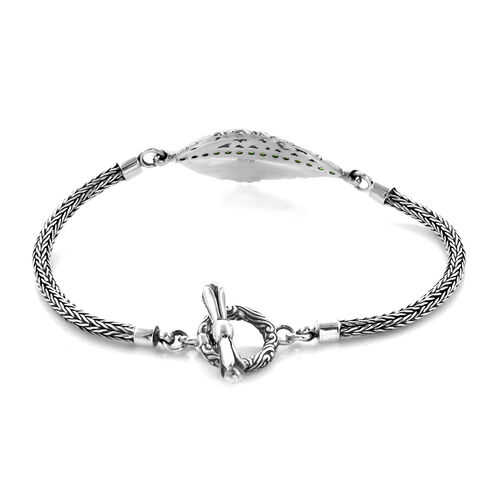 Bali Legacy Collection - Russian Diopside (Rnd) Tulang Naga Leaf Bracelet (Size 7.5) in Sterling Silver Silver wt 13.75 Gms