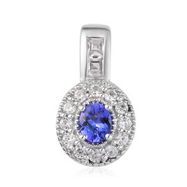 AA Tanzanite and Natural Cambodian Zircon Pendant in Platinum Overlay Sterling Silver 1.00 Ct.