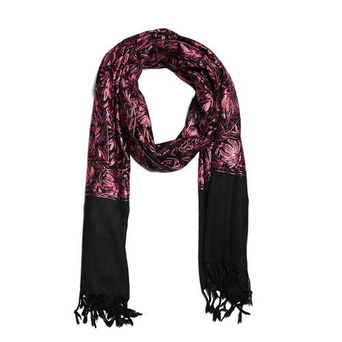 100% Merino Wool Pink, and Multi Colour Flower and Leaves Embroidered Scarf (Size 190x70 Cm)