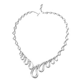 LucyQ Waterfall Style Necklace in Rhodium Plated Sterling Silver 54.16 Grams 20 Inch