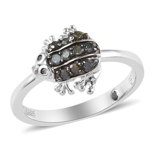 GP Green, Black and White Diamond (Rnd), Blue Sapphire Frog Ring in Platinum Overlay Sterling Silver