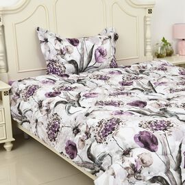 Set of 3 - Floral Pattern Comforter, Fitted Sheet and Pillow Case Single Size - Purple and Multi Col