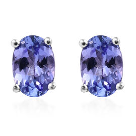 Tanzanite (Ovl) Stud Earrings (with Push Back) in Platinum Overlay Sterling Silver 1.500 Ct.