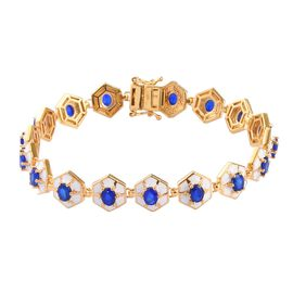 Tanzanian Blue Spinel Enamelled Bracelet (Size 8) in 14K Gold Overlay Sterling Silver 6.00 Ct, Silve