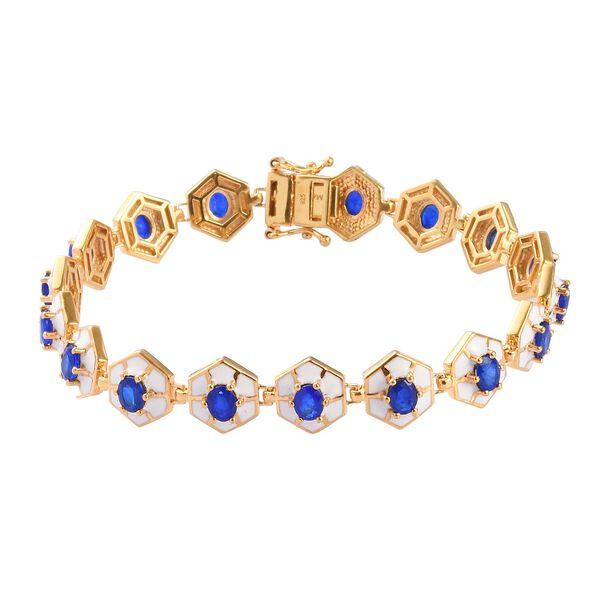 Tanzanian Blue Spinel Enamelled Bracelet (Size 8) in 14K Gold Overlay Sterling Silver 6.00 Ct, Silve