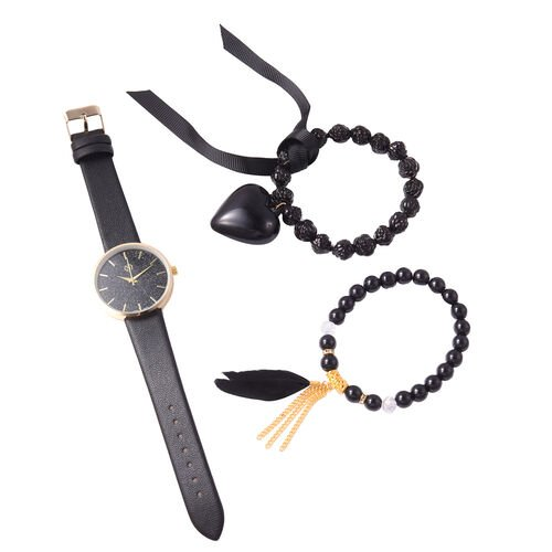 3 Piece Set - STRADA Japanese Movement Watch Simulated Black Agate, White Austrian Crystal and Multi