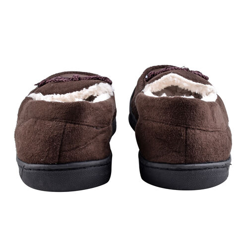 Brown Colour Mens Microfibre Moccasin Slippers (Size 10)