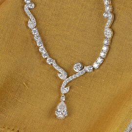 J Francis Platinum Overlay Sterling Silver Necklace (Size 18) Made with SWAROVSKI ZIRCONIA 44.13 Ct, Silver wt. 22.00 Gms