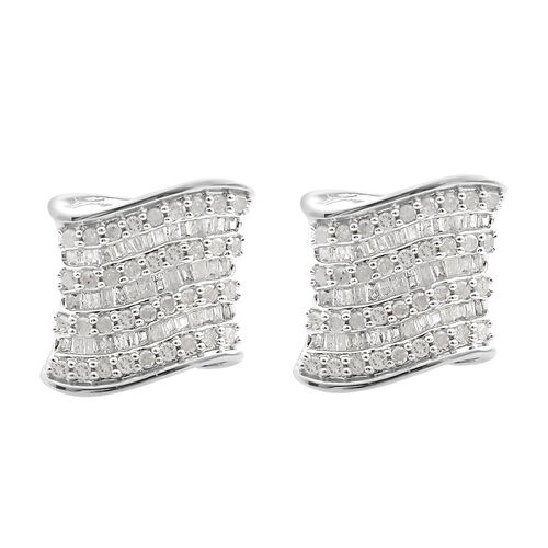 Diamond (Rnd and Bgt) Earrings (with Push Back) in Platinum Overlay Sterling Silver 1.010 Ct, Number