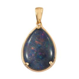Australian Boulder Opal (Pear) Solitaire Pendant in 14K Gold Overlay Sterling Silver