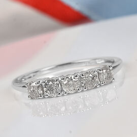 9K White Gold SGL Certified Diamond (I2-I3/G-H) Ring 0.50 Ct.