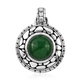 Royal Bali 11.64 Ct Green Jade Solitaire Pendant in Sterling Silver 8 Grams