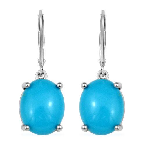 ILIANA 4.41 Ct AAA Arizona Sleeping Beauty Turquoise Drop Solitaire Earrings in 18K White Gold