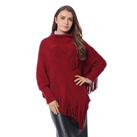 Mega Day Deal- Designer Inspired- Wine Red Colour Triangular Collor Poncho with Tassels (Size 75x60