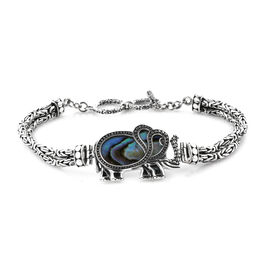 Royal Bali Collection Abalone Shell Borobudur Elephant Bracelet (Size 7.5 - 8) in Oxidised Sterling Silver, Silver wt 19.20 Gms.