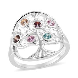 J Francis - Sterling Silver (Rnd) Tree of Life Ring Made with Multi Colour SWAROVSKI ZIRCONIA