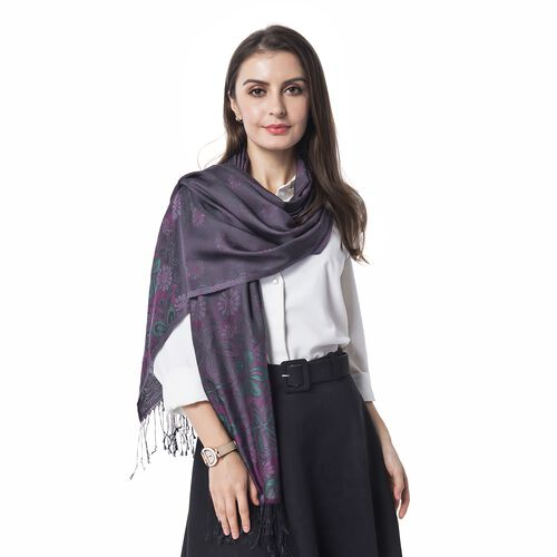 Purple, Pink and Multi Colour Scarf with Chrysanthemum Flower Pattern with Tassels (Size 180x70 Cm)