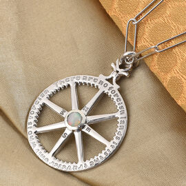 Ethiopian Welo Opal and Natural Cambodian Zircon Mariners Compass Pendant with Chain (Size 20) in Platinum Overlay Sterling Silver 1.00 Ct, Silver wt 13.80 Gms