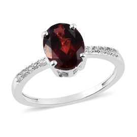 Mozambique Garnet and Natural Cambodian Zircon Ring in Sterling Silver 2.25 Ct.